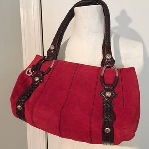 Brighton Beautiful Red Suede Leather Bag